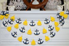 Sailboat anchor garland, yellow sailboat navy anchor, nautical wedding garland nautical decor nautical baby/bridal shower, nautical birthday Nautical Bathroom Design Ideas, Nautical Bathrooms, Nautical Home, Nautical Baby, Nautical Wedding, Navy Baby Showers, Unfinished Wood Furniture, Baby Shower Decorations For Boys, Garland Wedding