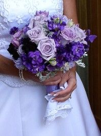 Purple stock with lisianthus and lavender roses - different shades of purple that work well together.