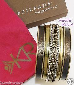 Silpada-Leather-Together-Cuff-Bracelet-Brass-Swarovski-Crystals-KRB0005