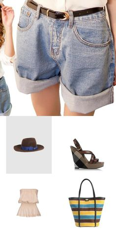 Transform high rise jean shorts with #Dolce &Gabbana bag and #Burberry brit shoes to a fab outfit