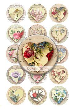 30 unique Valentine Vintage flowers hearts against vintage circle backgrounds 1 inch circles