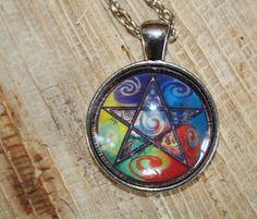 Wicca Pentagram Pendant Pagan Glass Necklace by PurpleMoonCraft, $9.00
