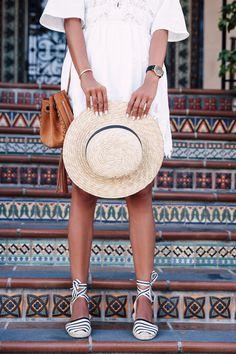 Summer accessories - black and white espadrilles, straw hat & suede tassel bag