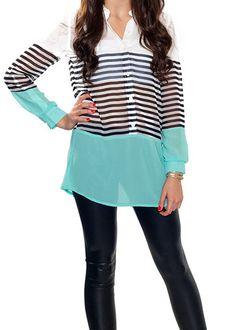 604d09603182 Aqua   Strip Button Blouse - Shirt