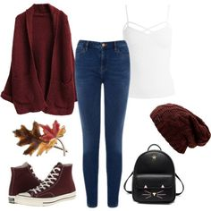 Autumn outfit featuring converse, skinny jeans and a beanie.