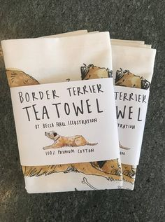 Border Terrier Tea Towel Textiles, Border Terrier, Paintings I Love, Craft Sale, Gift Basket, Digital Media, Baby Products, Package Design, Craft Fairs
