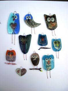 fused glass owlies ..LiNdA WiLSoN