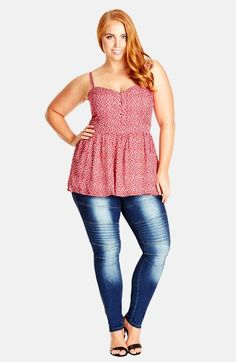 City Chic 'Carefree' Print Peplum Camisole (Plus Size) available at #Nordstrom