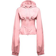 Fenty Puma by Rihanna Wind-Resistant Corset Jacket, Pink (£215) ❤ liked on Polyvore featuring activewear, activewear jackets, puma activewear, pink corset, puma sportswear, pink sportswear and red corset