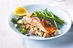 Salmon with white bean mash