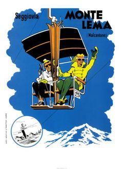 Vintage Travel Poster - Winter Sports - Italy - Seggiovia