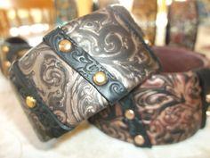 Metallic mokume cuff bracelets by Lori Von der Puetten