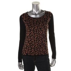 Charter Club Womens Animal Print Long Sleeves Pullover Sweater