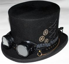 New 2014 Steampunk Men's Brown Top Hat with Goggles, Clock Parts, beautiful pheasant feathers, and pin striped brown fabric around the crown and winged goggles. Description from ebay.com. I searched for this on bing.com/images