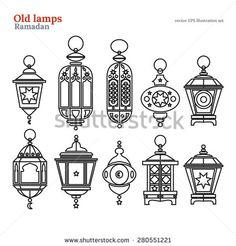 Old east lamp ramadan kareem mubarak vector otuline line illustration pack set