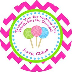 Sweet Shoppe Candyland Thank You Favor Tags by DBCelebrations