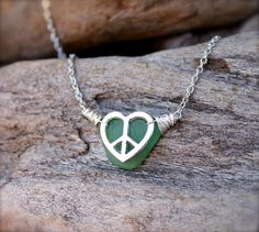 Sea Glass Necklace from Hawaii  Peace Sign by MermaidTearsDesigns