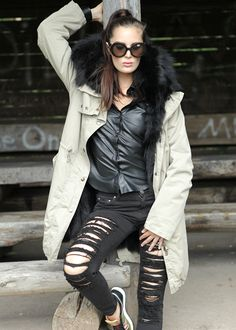 Military Parka Fur beige-schwarz: HISTORY REPEATS by Femme, Italy