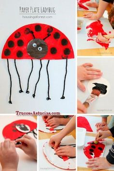 children's craft to make a ladybug with cardboard Diy For Kids, Crafts For Kids, Arts And Crafts, Preschool Printables, Preschool Crafts, Spring Activities, Toddler Activities, Spanish Lessons For Kids, Summer Art Projects