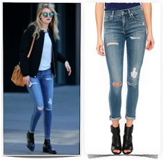 Gigi Hadid's Jeans styles - skinny, destroyed, boyfriend, from $158 USD