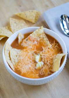 This soup is a great way to use up extra cooked chicken in the refrigerator – just shred it by hand and throw it in.