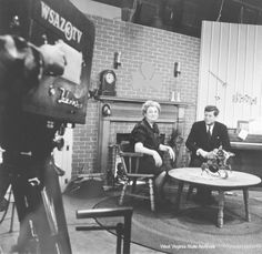 1960 Presidential Campaign in West Virginia Photographs  Photograph, Katy Doonan chats with Senator John F. Kennedy on WSAZ broadcast, February 6, 1960, Charleston. Photograph by Emil Varney. Emil Varney Collection  ★❃❤❁♛❤✾❤✾❤★  http://www.jfklibrary.org/JFK/JFK-in-History/Campaign-of-1960.aspx