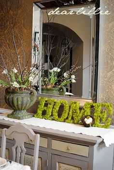 """thin wooden 10""""+ craft letters, glued with craft moss (spell spring, easter, etc.)"""
