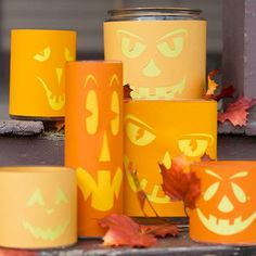 Imagine glowing jack-o'-lanterns without the mess of scooping out pumpkins or fiddling with candles. These paper-wrapped glass cylinders mimic the look, brightening the steps even during the day. Simply cut the provided patterns out of orange paper and wrap yellow paper around glass cylinders, followed by your trimmed orange paper. If desired, add a battery-operated candle or mini flashlight inside./
