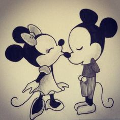 step by step chibi minnie and mickey mouse kissing | drawings of mickey and minnie mouse