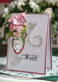 Sweet Pink Flowers card by Christina Griffiths Paper Cards, Diy Cards, Pretty Flowers, Pink Flowers, Birthday Cards For Mom, Wild Orchid, Pretty Cards, Flower Cards, Homemade Cards