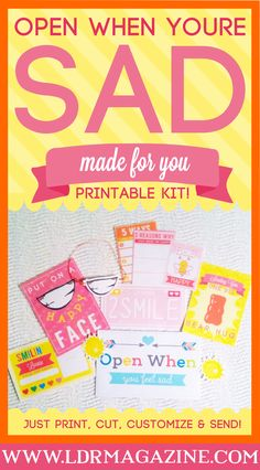 """A beautifully designed made for you open when envelope """"open when you're sad"""""""