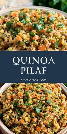 Quinoa Pilaf - A Family Feast® Entree Recipes, Side Dish Recipes, Salad Recipes, Soup Recipes, Easy Recipes, Dessert Recipes, Cooking Recipes, Best Side Dishes, Healthy Side Dishes