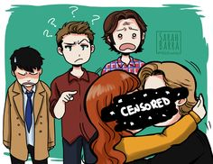 """""""...In the Library"""" ~ LMAO this scene killed me! SPN fan art, the trio stumbling on Gabriel x Rowena 