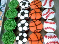 Sports Cupcakes by Cakes For Tots, via Flickr