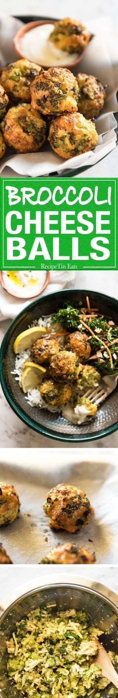 I love broccoli & I love cheese, sooo... Baked Broccoli Cheese Balls - outrageously delicious as a meal or bites to serve at a gathering! Served with a Yoghurt Lemon Sauce. www.recipetineats.com