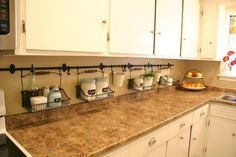 Unclutter you kitchen counter! Great idea! I could wipe it off without moving everything!! Such a great idea!!!