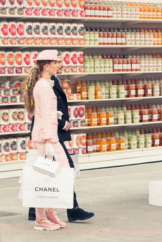 Chanel AW14 - Paris Fashion Week - a specially created Chanel supermarket to showcase the a/w collection - right down to the Chanel crackers and Chanel risotto