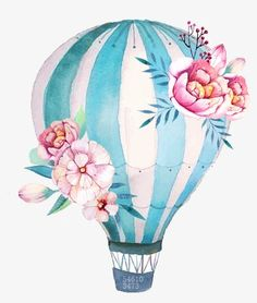 Hand-painted flowers PNG and Clipart Watercolor Flowers, Watercolor Paintings, Balloon Painting, Watercolor Illustration, Cute Drawings, Cute Wallpapers, Balloons, Canvas Art, Hand Painted