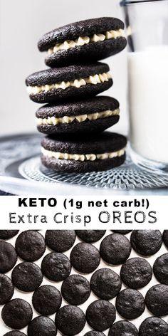 Keto Oreo Cookies - Keto Recipes - Ideas of Keto Recipes - Grain Free Gluten Free amp; Desserts Keto, Keto Friendly Desserts, Sugar Free Desserts, Keto Snacks, Dessert Recipes, Stevia Desserts, Oreo Cookie Recipes, Healthy Cookie Recipes, Healthy Cookies