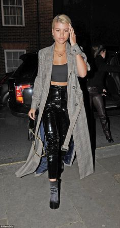 Flying solo:Sofia Richie, 19, spent time away from her beau Scott Disick, 34, on Monday, as she caught up with friends at swanky eatery Nobu in London