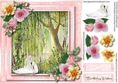 A lovely card to make and give to anyone on there birthday with Beautiful Swans on the River bank a lovely card has one greeting tag and a blank one ,