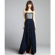 Nicole Miller Navy Chiffon Sequin Embellished High-Low Strapless Gown