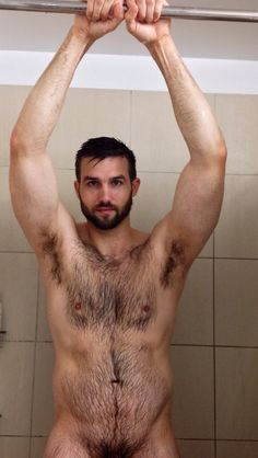 in naked men hairy shower