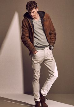 c01030e9c0a Fall combo inspiration with a suede hooded jacket gray v-neck sweater cream  trousers brown leather banded watch brown suede boots.