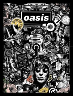 Oasis Black and White Art Print/Poster  Music Band