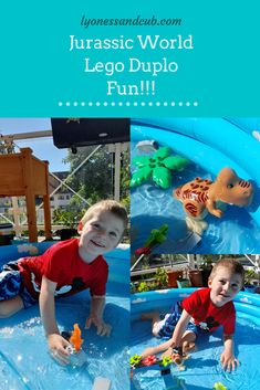 """[Ad] My son loves dinos and volcanoes so much; therefore, to celebrate his first day of kindergarten, he got a Lego Duplo Jurassic World set. Full of joy, he built """"undersea volcanoes"""" in his little pool, let the Lego Duplo boy ride on the big dinosaur, assembled a bridge, a palm tree, and flowers... What a fun activity for a summer weekend morning! Toddler Fun, Toddler Toys, Jurassic World Set, Little Pool, Kindergarten First Day, Son Love, Volcanoes, Lego Duplo, Fun Activities"""
