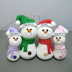 Snowman Family polymer clay Ornament by Clayin' Around, via Flickr