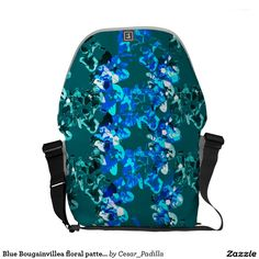 Blue Bougainvillea floral pattern Courier Bag. #Abstract #Floral #Art