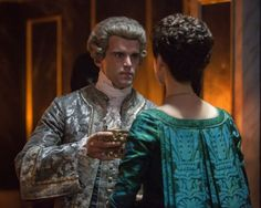 """Claire Fraser (Caitriona Balfe) and Comte St Germain (Stanley Weber) in Episode 207 """"Faith"""" of Outlander Season Two on Starz. So he was a bad guy, but damn, he's hot! Claire Fraser, Jamie Fraser, Jamie And Claire, Outlander Book Series, Starz Series, Saint Germain, Stanley Weber, Outlander Season 2, Outlander 3"""