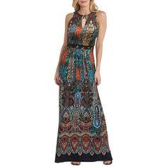 Women's Eci Print Maxi Dress ($98) ❤ liked on Polyvore featuring dresses, high-neck maxi dresses, cut out maxi dress, print dress, print maxi dress and maxi length dresses